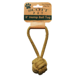"8"" Hemp Ball Tug Dog Toy"