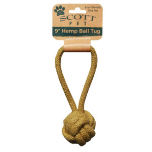 "9"" Hemp Ball Tug Dog Toy"